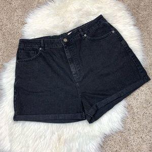 ASOS Black High Waist Rise Jean Cuff Shorts 14